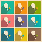 Flat with shadow icon and mobile applacation tennis Stock Illustration