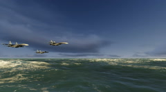 Fighter jet over the sea Stock Footage