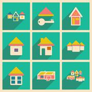 Flat with shadow concept and mobile application houses icons - stock illustration