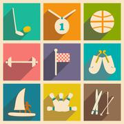 Flat with shadow concept and mobile application sports - stock illustration