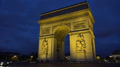 The Arc de Triomphe (in 4K) at night in Paris, France. Stock Footage