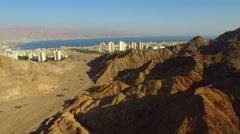 AERIAL OF EILAT, ISRAEL REGION and RED SEA Stock Footage