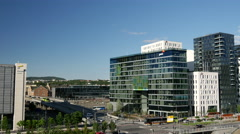 Time lapse from modern office buildings next to the Oslo Opera House in Norway Stock Footage