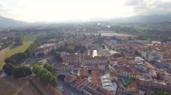 Aerial view of ancient town of Lucca, Tuscany - stock footage