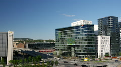 Modern office buildings next to the Oslo Opera House in Norway Stock Footage