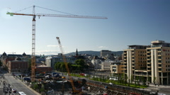 Construction next to the Oslo Opera House in Norway Stock Footage