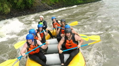 Bumpy whitewater rafting ride actual speed - stock footage