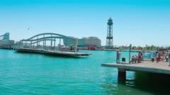 Rambla de Mar bridge Barcelona Stock Footage