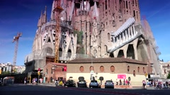 ULTRA HD 4K real time shot,Cathedral Sagrada Familia in BARCELONA Stock Footage