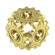 Sphere made of cogwheel gears isolated - stock photo