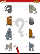 halves game for kindergarten - stock illustration
