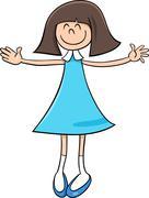 happy girl cartoon illustration - stock illustration