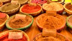 Colorful Spices at French Market, St. Remy, France Stock Footage
