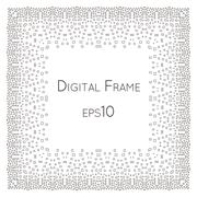 Intricate Digital vector frame with small rectangles. - stock illustration