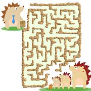Raster illustration of the stone labyrinth and a family of hedgehogs - stock illustration
