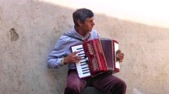 Street Performer Playing Accordion, St Remy, France - stock footage