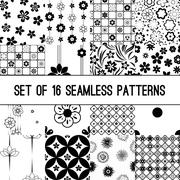 Set of black and white vector intricate patterns of flowers - stock illustration