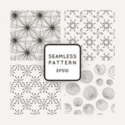 A set of four vector patterns in monochrome - stock illustration