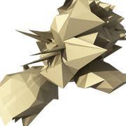 Raster abstract illustration with spiked chaotic object. 3d render. Piirros