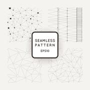 Set of four vector abstract seamless patterns similar cobwebs - stock illustration