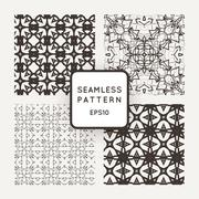 Set of four vector seamless patterns intricate with lots of small details Stock Illustration