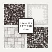 Set of four vector seamless patterns intricate with lots of small details - stock illustration