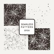 PrintFour vector pattern with fireworks and chaotic points Stock Illustration