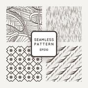 Set of four vector seamless patterns with flowers and wavy lines - stock illustration