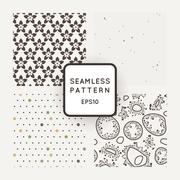 Set of four vector seamless patterns with flowers, dots and bacteria - stock illustration