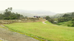 Large group of tourists at Ingapirca ruins Stock Footage