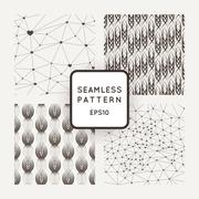 A set of four vector seamless patterns. Polygons. Grid. Wavy lines. Interlaci - stock illustration