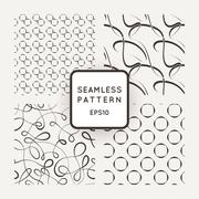 A set of four vector seamless patterns. Curls. Circles. Stock Illustration