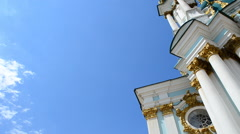 Andreevsky church against clouds Stock Footage