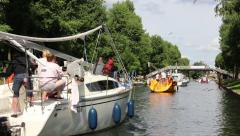 Boats, yachts and ships on a canal Stock Footage