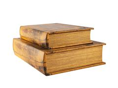 Two old books isolated - stock photo