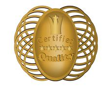Certified quality label in gold design with the royal crown Stock Illustration