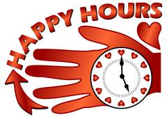 Stock Illustration of Happy hours billboard with a clock on the palm