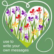 Spring billboard with heart and colorful flowers - stock illustration
