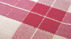 Checkered red  fabric pattern close-up 4K 3840X2160 UHD panning footage - Che Stock Footage