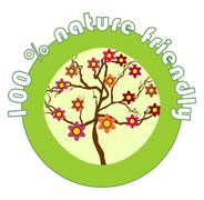 Stock Illustration of Label 100% nature friendly for organic products with the flowering tree
