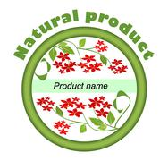 Label for natural product with red small flowers in green circle - stock illustration