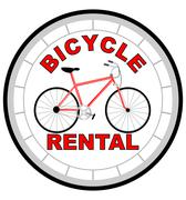 Label bicycle rental shaped as tyre with bicycle in the middle - stock illustration