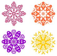 Set of four geometric ornaments in warm colors - stock illustration