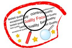 Quality Focus - the label for in quality control Stock Illustration