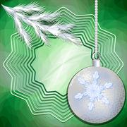 Green christmas background with silver ball and frosted branch - stock illustration