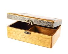 Old-fashioned wooden casket Stock Photos