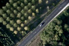 High angle view of car on road in France - stock photo