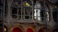 ULTRA HD 4K real time shot, view Gaudi's creation-house Casa Batllo Stock Footage