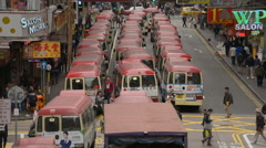 Time Lapse of Bus Taxi Stand in Downtown Hong Kong - stock footage