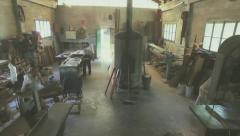Old carpentry factory Stock Footage